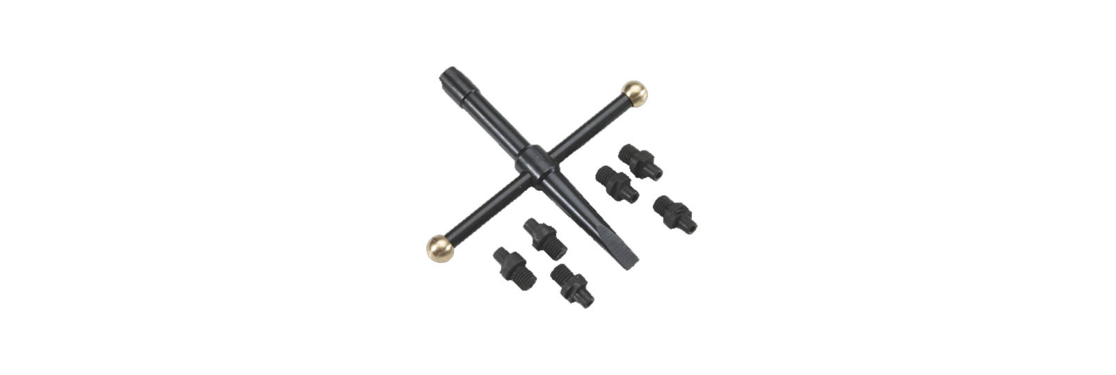 Cruciform nipple wrench set for revolver with 6...
